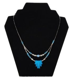 Turquoise Stone Look Silver-tone Necklace NWT